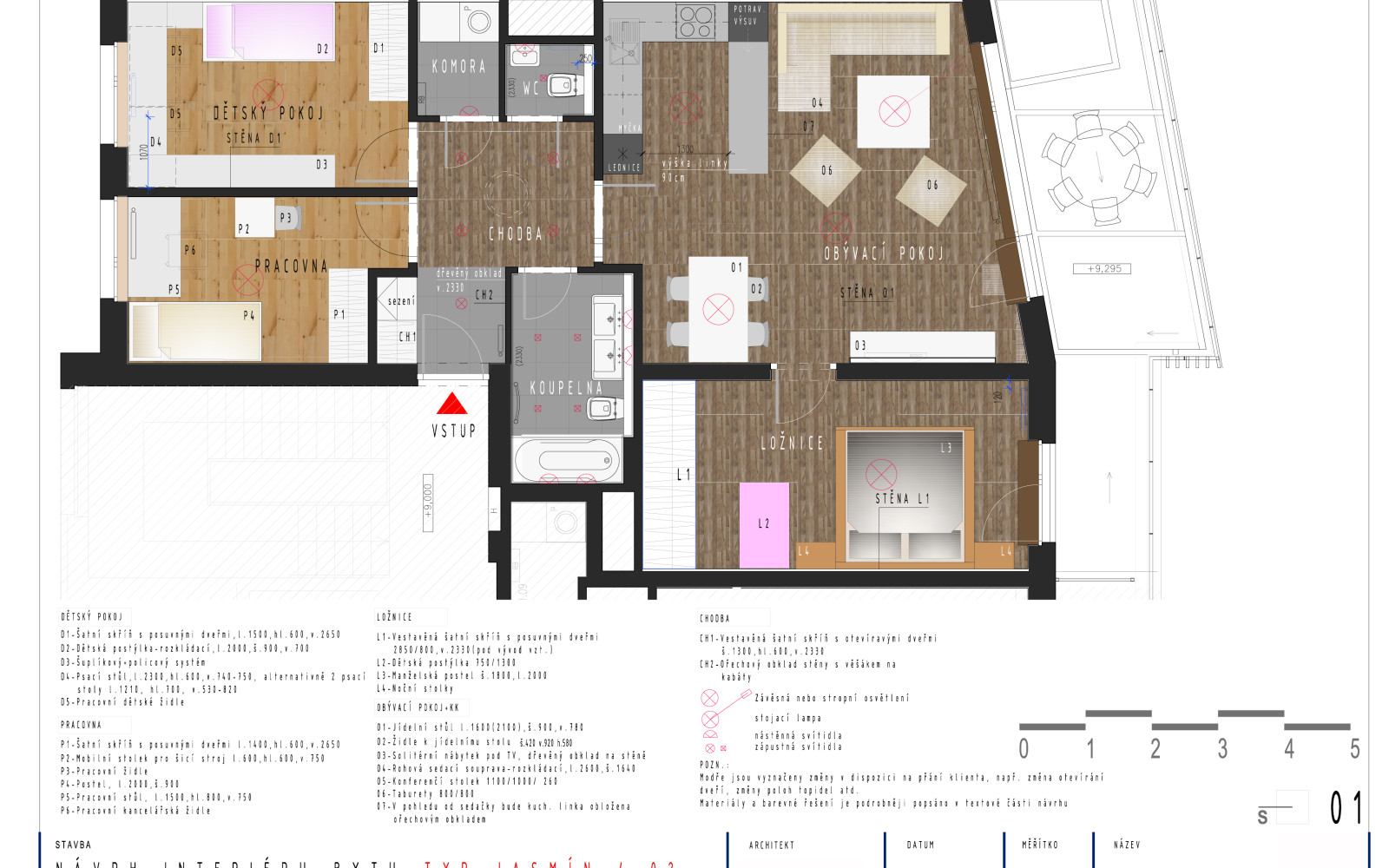 Půdorysné řešení a rozmístění nábytku-barevnost a materiálové řešení